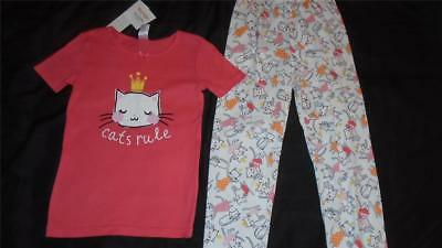 """NEW Girls Size 5 Gymboree Outlet Gymmies Pajamas """"CATS RULE"""" 2018 Line NWT"""