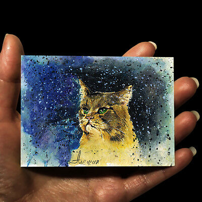 """MINIATURE ORIGINAL ART Animals PICTURE WATERCOLOR PAINTING """"Cat"""" ACEO signed"""