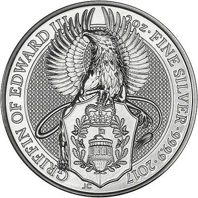 2017 Queens Beast  Griffin of Edward III 2 oz Silver Coin - uncirculated