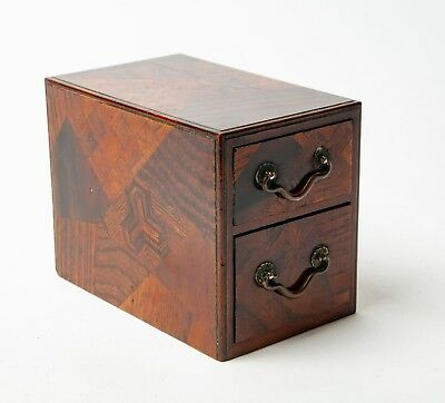 Antique Meiji Japanese Inlaid Wooden Tansu Miniature Two Drawer Table Cabinet