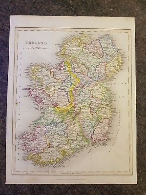 19th century engraving map of Ireland, Grattan and Gilbert.