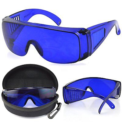 8fa1ae8f2fb GOLF BALL FINDER Glasses Blue Lenses Sunglasses Silver Frame Zipper ...