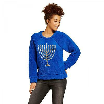 New Xhilaration Juniors Hanukkah Chanukah Fuzzy Woobie Sherpa Sweater Pullover