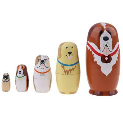 Set of 5pcs Cute Dog Printed Wooden Russian Nesting Doll Babushka Matryoshka