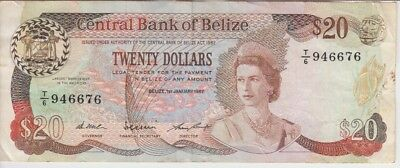 Belize Banknote P49a-6676 20 Dollars 1.1.1987, QE II, F-VF