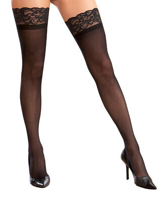 Black Plus Size Stay Up Silicone Lace Top Thigh High Stockings - Dreamgirl 7030X