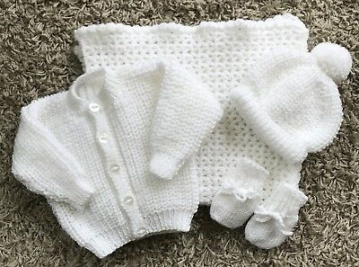 NEW Knitted White Baby cardigan,Hat,Mitts 0-3 months With Matching Pram Blanket