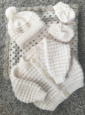 NEW Knitted Cream/beige Baby cardigan, Hat,Mitts 0-3 months With Pram Blanket