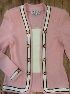 St John COLLECTION Marie Gray Pink 2 Piece Blazer Knit Skirt Suit size 6
