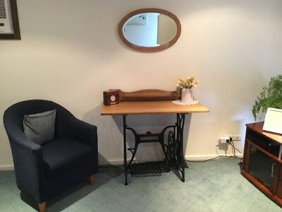 Antique Sewing Machine Table And Mirror