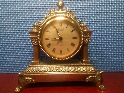 Stunnung Little Brass Mecanical Mantle Clock with alarm. Working.