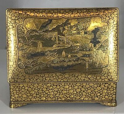 Antique Ohayo Japanese Gilt Damascene Jewelry Metal Box Kyoto