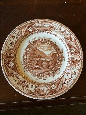 Antique GW Turner & Sons Tunstall Phileau Brown Transferware Plate 7 3/8 Inches