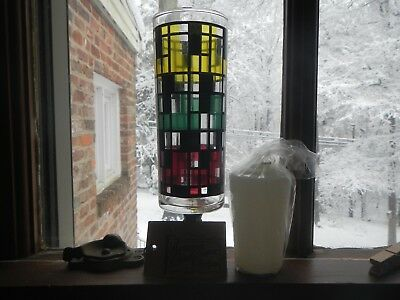 Vintage 1970s Nu Trend Faux Stained Glass Candle Holder with original tag