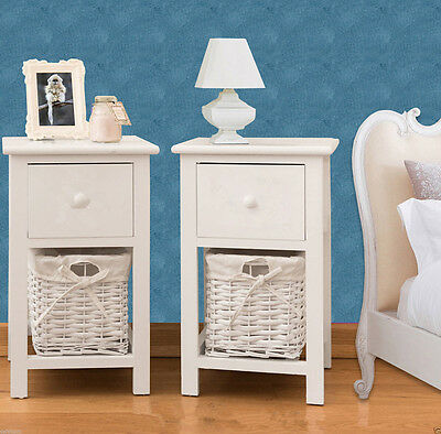 Pair Bedroom Bedside Table Unit Cabinet Nightstand with Wicker Basket Storage UK