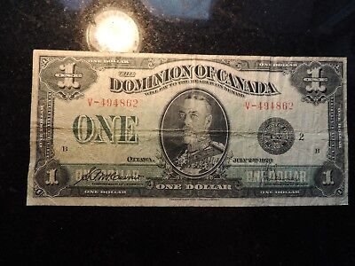 1923 DOMINION OF CANADA ONE DOLLAR $1 DC-25f MCCAVOUR SAUNDERS V-494862