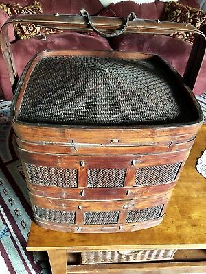 "2 TierChinese Antique Brown Wicker And Wooden Wedding Basket 24"" high"