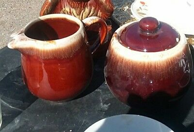 Vintage McCoy Brown Drip Pottery Covered Sugar Bowl and Creamer-7020