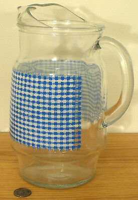 Vintage Old Glass Blue White Checkered Milk Water Spout Pitcher