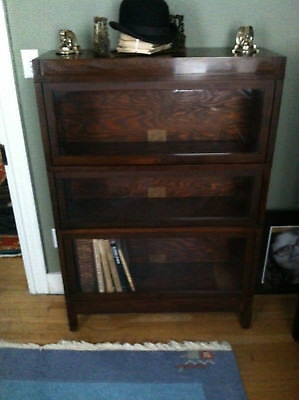 Globe-Wernicke Oak 3-stack Barrister Bookcase with rare section for large books