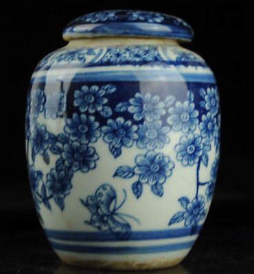 Chinese old Blue and White porcelain flower and butterfly pattern Cover pot/W