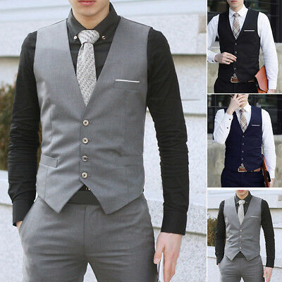Business Mens Formal Dress Vest Top Suit Slim Fit Jacket Tuxedo Waistcoat