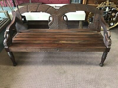 Antique Carved Wood Bench Swans Beautiful