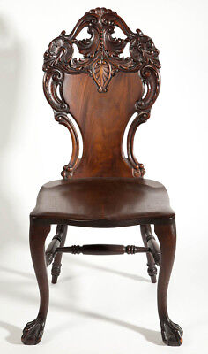 ART NOUVEAU CARVED MAHOGANY SIDE CHAIR Lot 1371