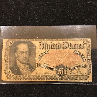Vintage Civil War Era United States fractional Paper Money 50 c > Series 1875
