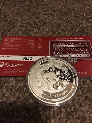 Perth Mint Lunar 2012 2 Oz Silver PROOF $2 Dragon Series 2 With COA