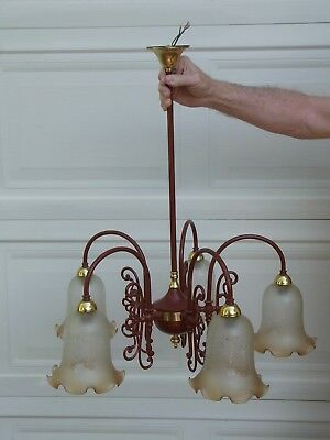 Victorian Reproduction Brass Chandelier Powder Coated Ceiling Light