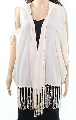 One Urban Day... NEW Beige Womens XL Tassle Hem Cold-Shoulder Kimono $207- 014