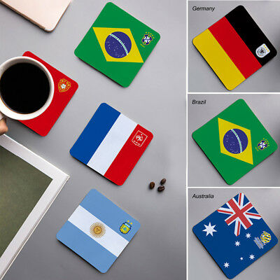 World Cup Style Coaster Square Flag Dining Table Placemats Rubber Pad Mug Mat