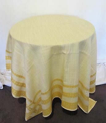 TABLE CLOTH Yellow Lemon 1960s VINTAGE Large TABLECLOTH Mid century Eames era ♫