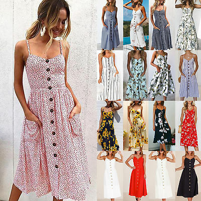 77b4c15f7c5 Womens Dress Large Size Holiday Strappy Pocket Ladie Summer Beach Midi  Dress UK