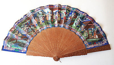 Chinese Fan-Thousand faces-Sandalwood and bone-19th.century