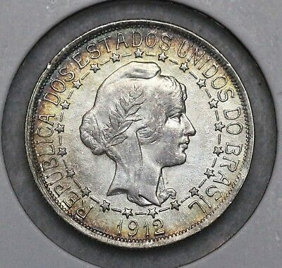 1912 Brazil 1000 Reis Choice Au/bu Attractive Toning See My Other Brazil Coins!