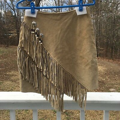 Native American Indian Leather Skirt by HB Vintage Made in USA Womens Small XS