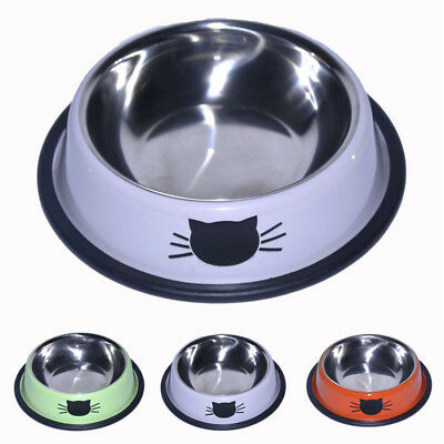Cat Bowl Dish Water Food Feeding Non Slip Skid Stainless Steel Kitty Pet Feeder