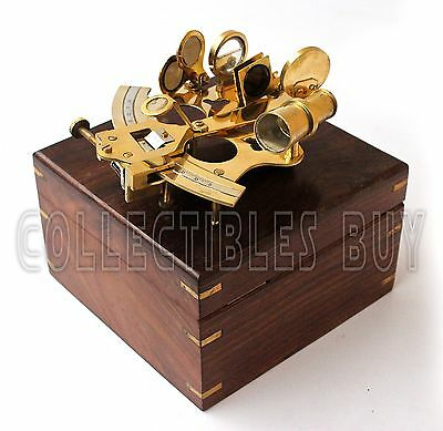 Maritime Brass Sextant Nautical Unique Instrument Classical Wooden Brown Box