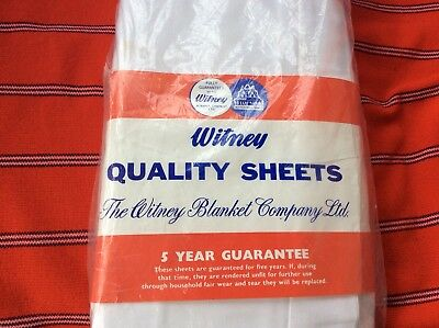 Large white Cotton Sheet, by Witneys, 1950's, Unopened.  New old stock
