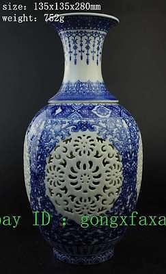 china blue & white porcelain handwork painting flower noble hollow out vase e01