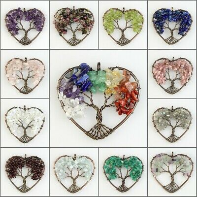 Natural Amethyst Lapis Lazuli Chakra Tree of Life Heart Pendant for Necklace