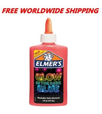Elmer's Glow In The Dark Glue Great for Slime Pink 5 Fl Oz FREE WORLD SHIPPING