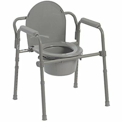 Steel Folding Bedside Commode Chair Portable Toilet For Senior Handicap Camping
