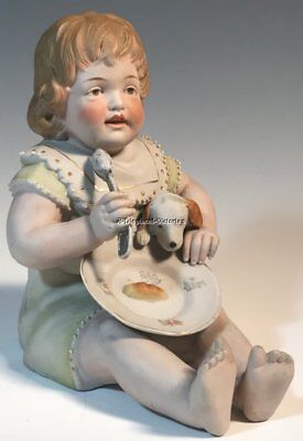Antique PIANO BABY Girl Figurine German Bisque Porcelain RARE Dog, Plate, Spoon