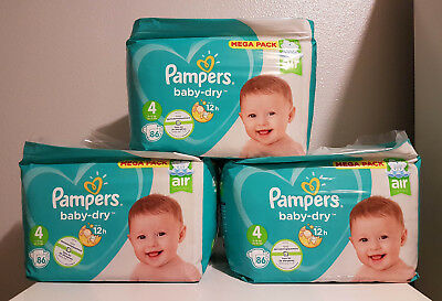 LOT DE 258 (3x86) COUCHES PAMPERS BABY-DRY TAILLE 4 MEGA PACK 9-14 kg NEUF