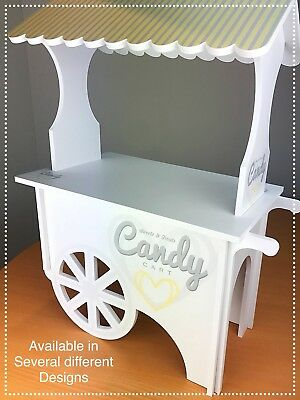 CANDY CART 65cm Trolley Flat PackWedding White.Printed Sweet Display Stand.MCS&T