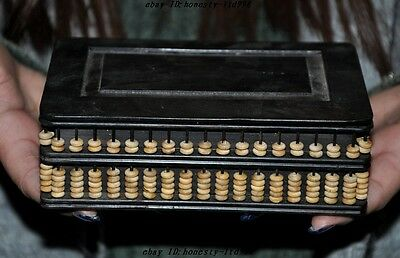 Old Chinese Rosewood wood carved Beads abacus statue Jewelry Box storage boxes