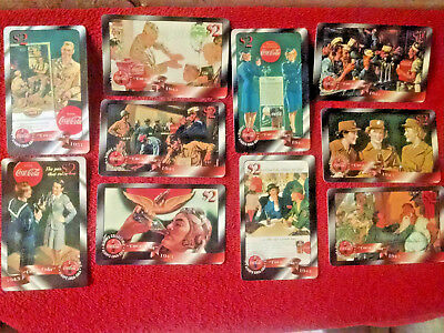 10 lot Coca-Cola Phone Cards-WW2 MILITARY IMAGES-Army-Navy-Excellent $2 Sprint